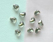 Pewter Beads Silver Plated  Heart Beads