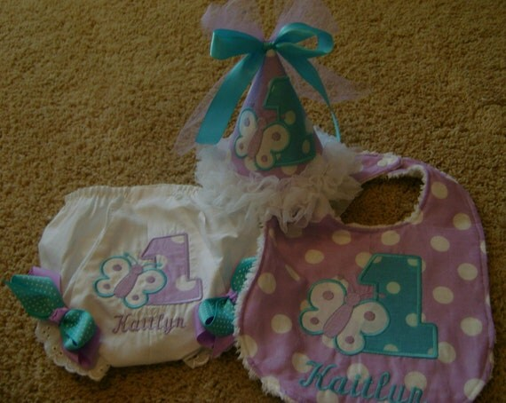 1st Birthday Party Hat with matching Bloomer and Bib