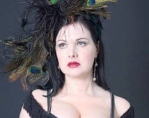 Custom Made Peacock Feather Headband,Peacock and Ostrich Fascinator,Royal Ascot,Burlesque,Ostrich Feathers,Long Curled Black Egret Feathers