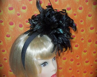Custom Made Black Coque Feather Headband by Taissa Lada Burlesque,Feather Headband,Iridescent Feathers,Ascot,Old Hollywood,1920s,Gothic,Goth