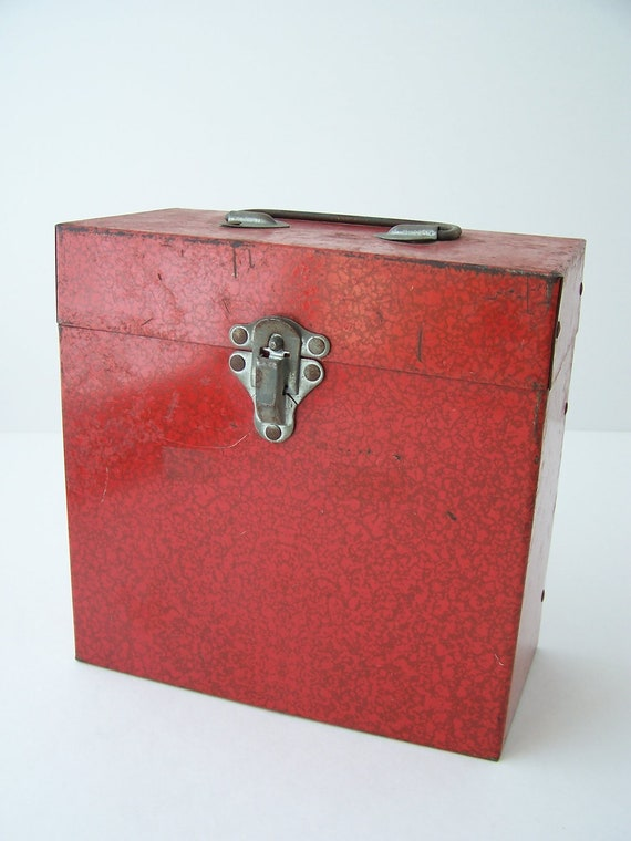vintage red tin metal case storage papers office decor
