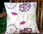 aubergine apple green grape pink allium cushion cover, flower dandelion decorative pillow cover 14 inch