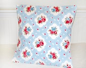 vintage shabby style pink blue roses cushion cover, decorative pillow cover 16 inch