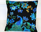 green gold peacock blue decorative pillow cover,  cushion cover 16 inch