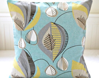 blue retro decorative pillow cover grey yellow lime cushion cover 16 / 18 inch