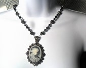 Hand Knotted Victorian Cameo Necklace with a dazzling decorative beads Free shipping