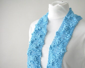 Handknit Cotton Lace Turquoise Summer Scarf - Fashion Scarf for Adult Female