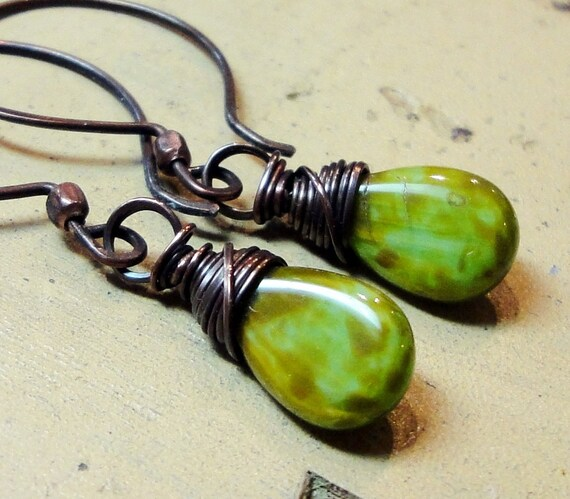 Green Czech Glass Earrings Rustic Copper Hoops Wire Wrapped Dangle Earrings Fall Fashion Jewelry