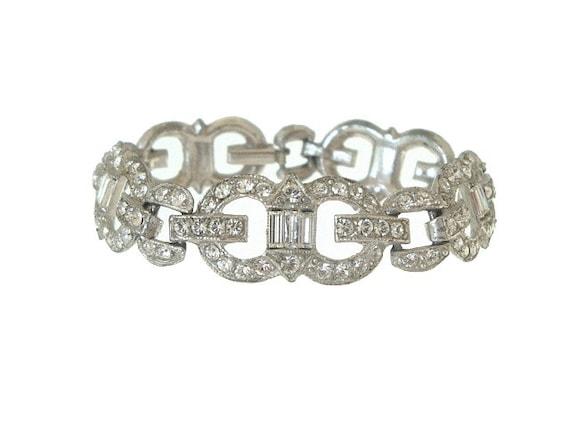 Art Deco Bracelet Rhinestone Baguette Link Vintage 1920s Wedding Jewelry