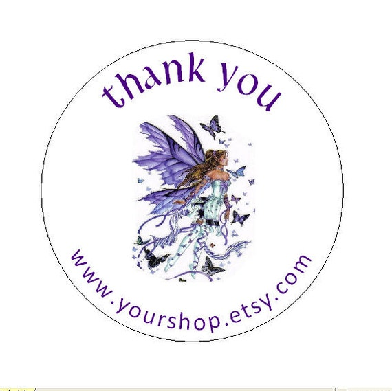 Round Personalized Stickers Thank You  Labels with your shop name 45 Fairy