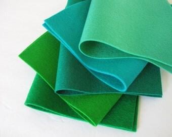 100% Wool, Blue Green Shades, Felt Fabric Set, 8x12 Inch Sheets, Elf Green, Sea Green, Emerald, Sprout, Kelly Green, Handwork, Applique