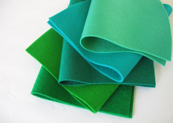 100% Wool, Blue Green Shades, Felt Fabric Set, 8x12 Inch Sheets, Elf Green, Sea Green, Emerald, Sprout, Kelly Green, Handwork, Applique