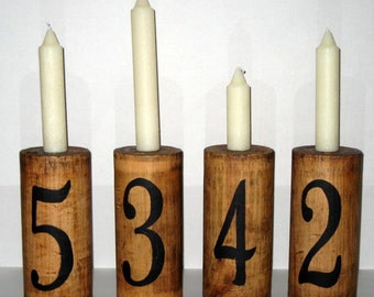 Altered Vintage Wooden Spool Candle Holder with Painted Number 4