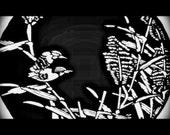 Handcut papercut - Bird couple on a lake reed