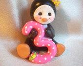 penguin cake topper Christmas ornament 3 3rd third polymer clay animal decoration birthday keepsake children