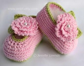 Crochet pattern girls baby booties with pink flowers leaves and pearl centers cute pretty pdf Instant Digital Download