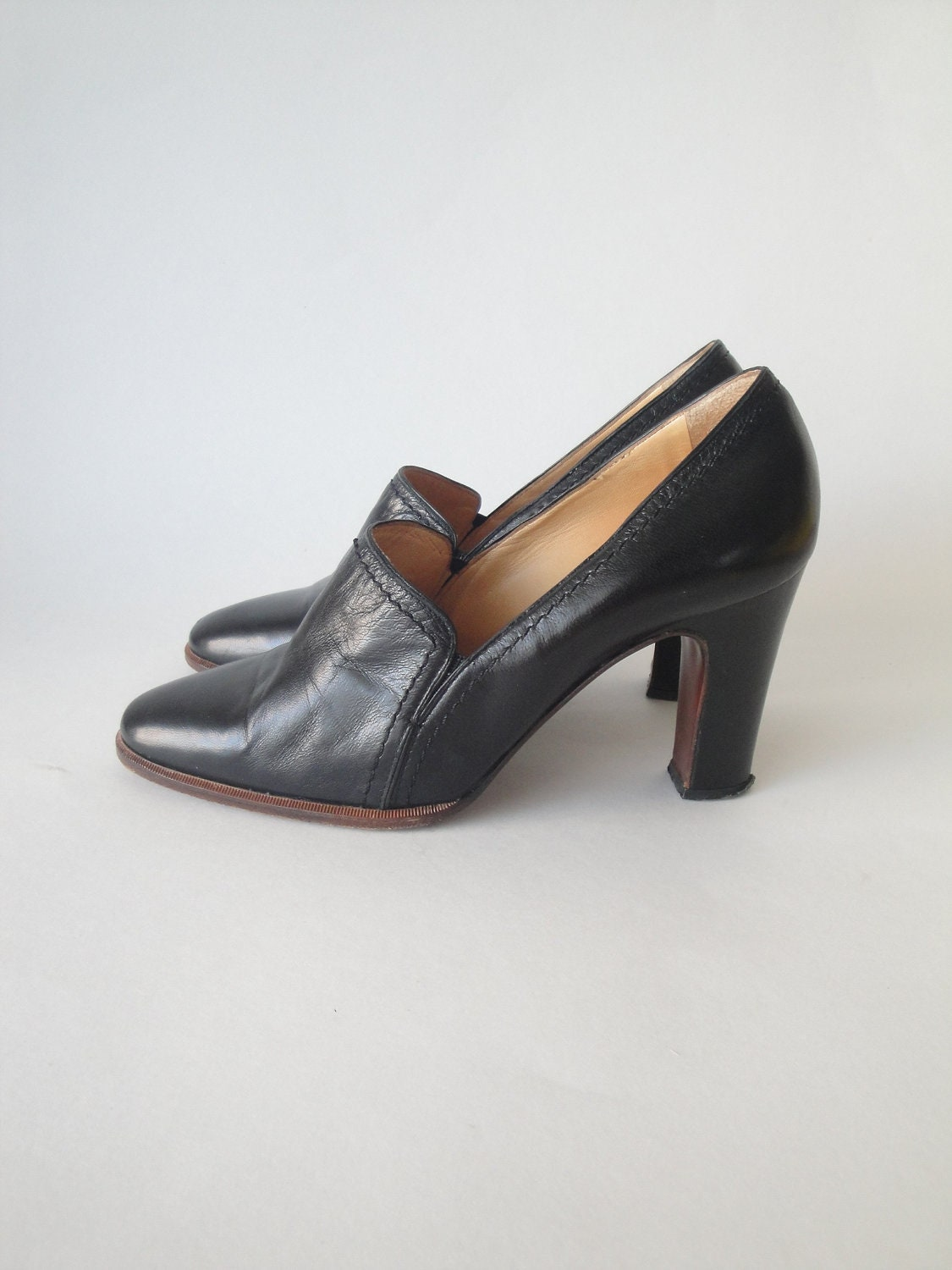 sale vintage black leather pumps casadei shoes high heels. Black Bedroom Furniture Sets. Home Design Ideas