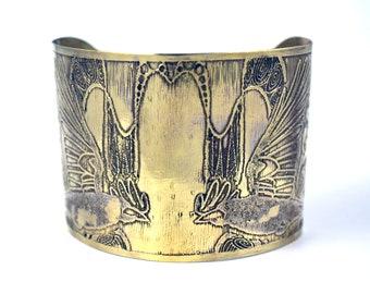 Etched Brass Rook Crow Cuff bracelet