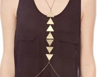 GEOMETRIC brass body chain necklace