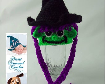 Crochet Pattern 067 - Halloween Witch Beanie Hat - All Sizes