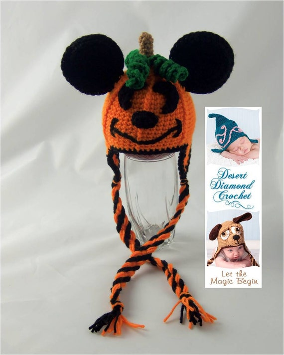 Mouse O' Lantern Pumpkin Earflap Hat - Any Size