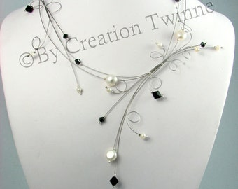 ivory pearls black swarovski necklace, bridesmaids necklace,  swirls, delicate necklace,bridesmaids gifts,  wedding necklace, bride necklace