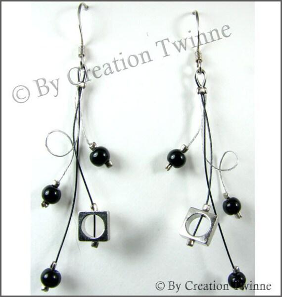 black swirls earrings, bridesmaids earrings, delicate earrings,unique designs earrings,comtemporary earrings,funky earrings, wedding earring