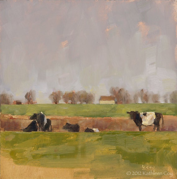 Original Oil Painting by Kathleen Coy. Field of Oreo Cows.