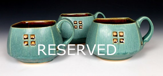 Reserved for A Polly, Pair of large green mugs with window carving
