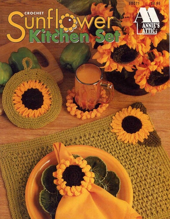 Sunflower Kitchen Set Crochet Patternplacemats By