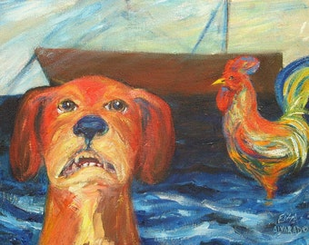 dog painting, Dog and Rooster Drama original acrylic painting on canvas
