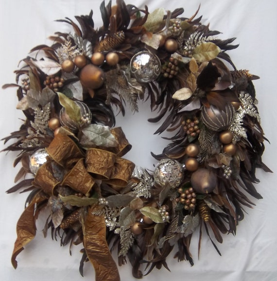 Christmas holiday feather wreath bronze silver ornaments
