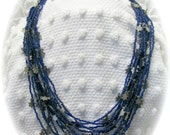 Vintage Cobalt Blue Multi Strand Necklace Indie Art Glass Seed Bead 24 inch Silver Stars