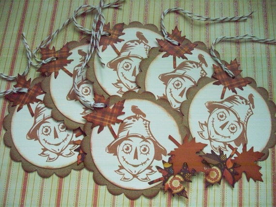 Autumn Gift Tags Harvest Scarecrow Tags handstamped vintage style tags scarecrow autumn leaves thanksgiving - set of 6