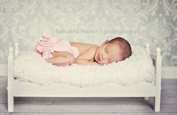 Small Whimsical Newborn Photography Prop Baby Doll Bed - DIY Ready to Stain or distress Photo Props