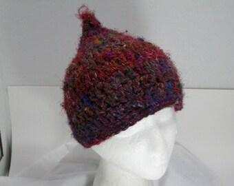 Pixie Hat - Sari Silk and Wool - Gnome Hat - Elf Hat - Crochet - Fairy Hat- SALE