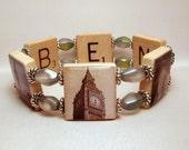 LONDON JEWERLY / Big Ben Bracelet / England / Upcycled SCRABBLE Art / Clock