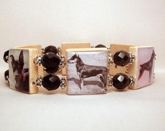 MIN PIN Dog Jewelry / Black and Tan Miniature Pinscher / SCRABBLE Art Bracelet