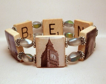 LONDON JEWERLY / Big Ben Bracelet / England / Upcycled SCRABBLE Art / Clock