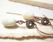 Stone earrings natural rustic lampwork copper autumn 2012 handmade