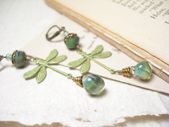 Dragonfly earrings patinaed sage gold dragonflies mossy lampwork mint glass antiqued brass