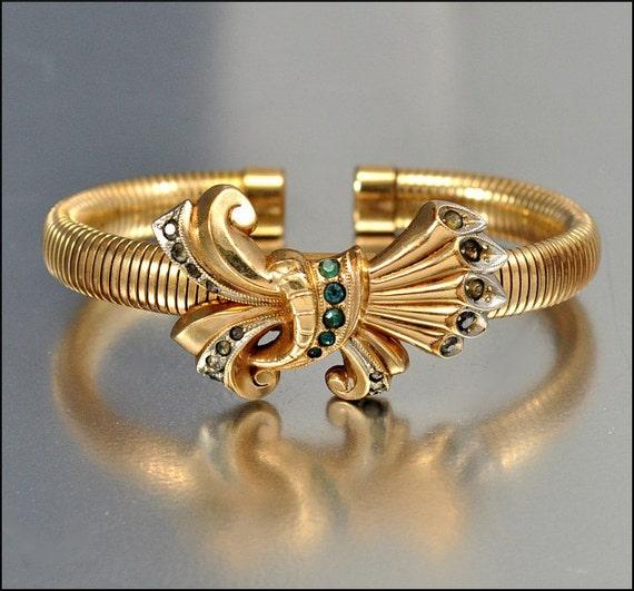 Art Deco Bracelet Gold Bangle Snake Rhinestone Bow Vintage Jewelry 1940s Wrap PS Co