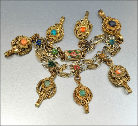 Antique Victorian Charm Bracelet Coral Turquoise Chinese Enamel Gold  Vintage Jewelry