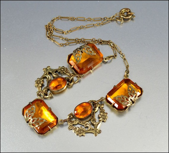 Art Deco Necklace Amber Glass Gold Gilt Leaf Filigree 1930s Vintage Jewelry