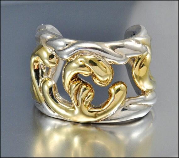 Vintage Bracelet Gold Sterling Silver Modernist Cuff Electroform Wide Designer Jewelry