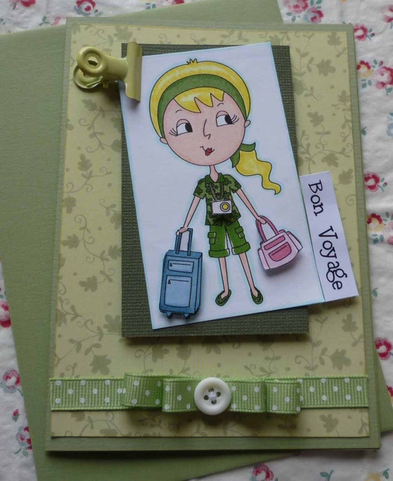 BON VOYAGE - Handmade blank greeting card with lovely tourist girl