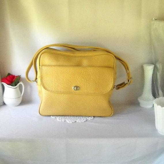 Vintage Luggage Overnight Bag Carry On Bag Mustard Yellow Retro Luggage Weekender