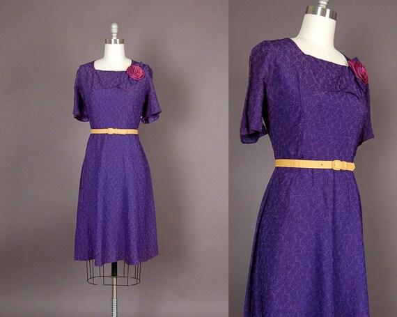 vintage 1950s dress 50s dress floral embroidered crepe violet purple rose designer