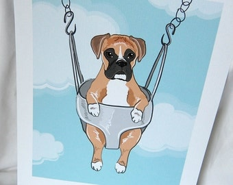 Swinging Boxer- Eco-friendly 7x9 Print