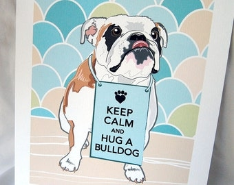 Keep Calm White Bulldog with Scaled Background - 7x9 Eco-friendly Print